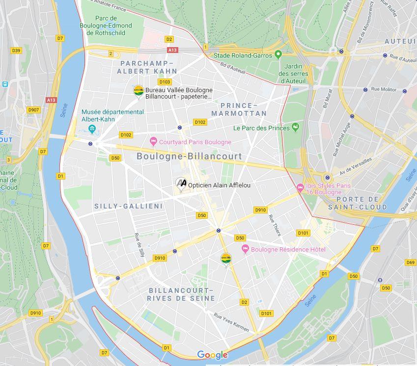 plan et rues de boulogne-billancourt