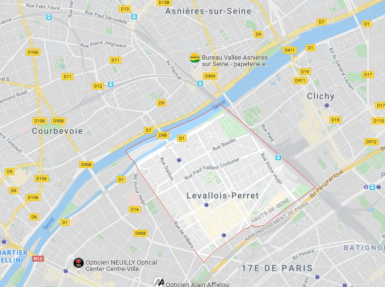 plan Levallois Perret et communes environnantes
